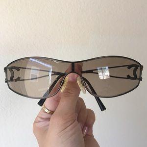 Authentic Chanel Crystal Bronze CC Logo Sunglasses